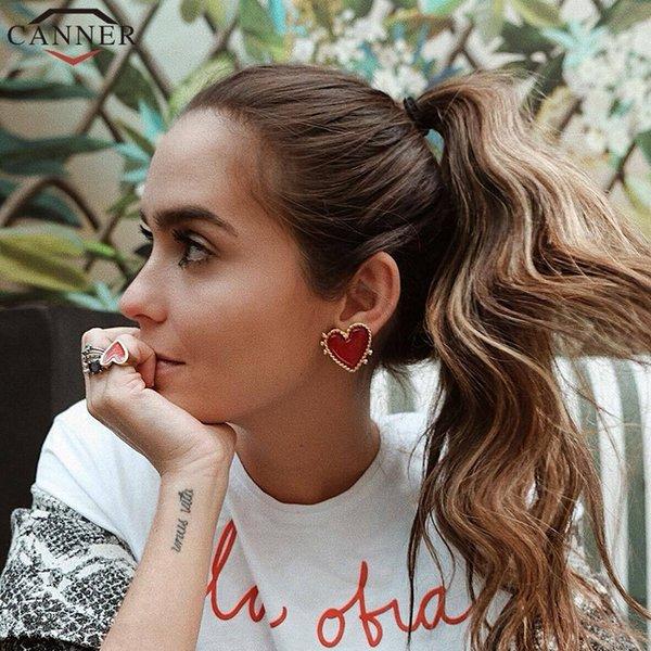 Januarysnow Fashion Chic Heart Earrings Punk Oorbellen Gold Stud Earrings Fashion Jewelry Big Earrings for Women Kolczyki FI