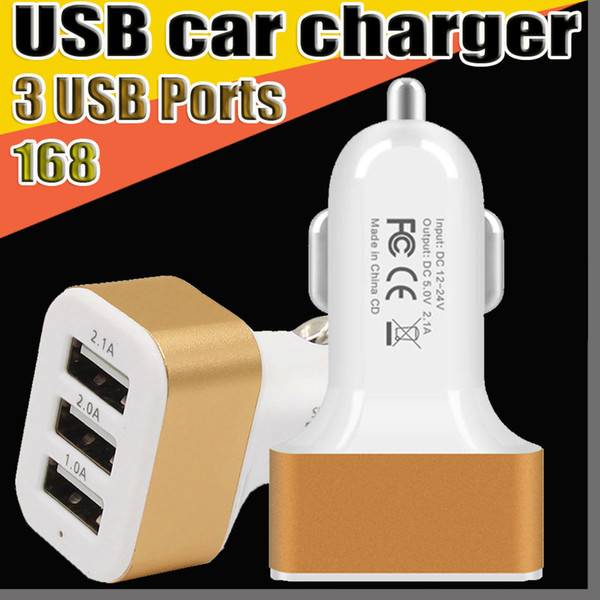 top popular 168 New Universal Triple USB Car Charger Adapter USB Socket 3 Port Car charger For All Mobile smart Phone Smartphone tablet pc 2021