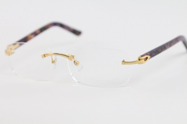 top popular Rimless Fashion New Business Design Men Gold Silver Clear Lens Free shipping 8200757 purple Plank Eyeglasses Size:56-18-140mm 2021