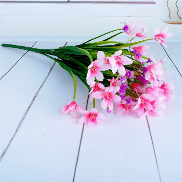 Artificial flowers Silk Archid Fake Plants Plastic Flowers Bouquet For Wedding Party decorative Flowers simulation leave Plant