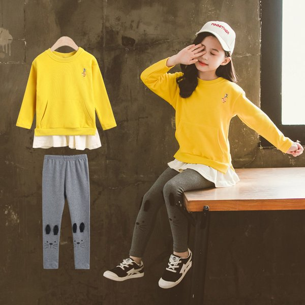 Children Clothing Set Girls Clothes Sets Autumn Spring Sweatshirt Tops Legging Pants 2PCS Tracksuit Kid Outfit 4 8 10 12 Years Children Clothing Set Girls Clothes Sets