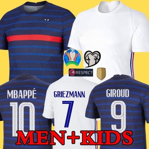 top popular 2020 France MBAPPE GRIEZMANN POGBA jerseys 2021 Soccer jersey Football shirts maillot de foot men + kids kit 2020