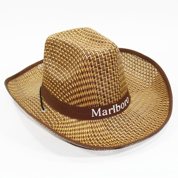 Men # 039; s grandes aleros sombrero de paja de Brown-Media