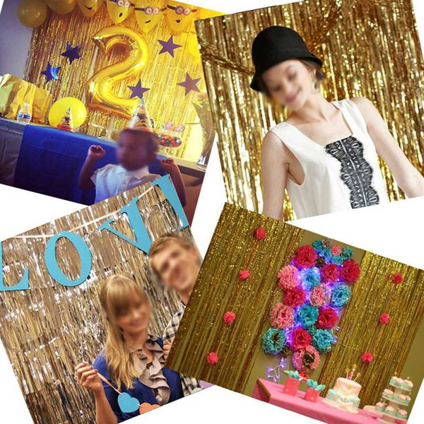 2M 3M Gold Tinsel Foil Fringe Curtains Birthday Background Graduation Bachelor Party Photo P Brand NameOURFETE MaterialPlastic OccasionMothers Day Model Numberfoil fringe tassel curtain is_customizedYes PatternNONE Size1M*2M /1M*3M TypeFoil curtain