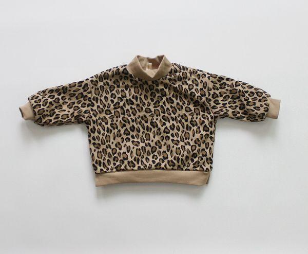 best selling FM INS Korean Style New Kids Little Boys Girls Leopard Sweatshirts Long Sleeve Winter Fleece Cotton Unisex Child Bountique Clothes Tops