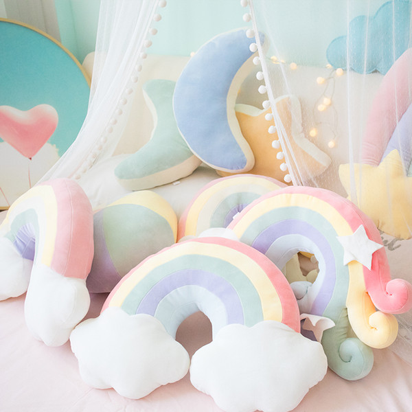 top popular Cute candy color cloud star moon rainbow pillow round plush soft ball pillow home sofa cushion home decoration plush toy girl Christmas gift 2020