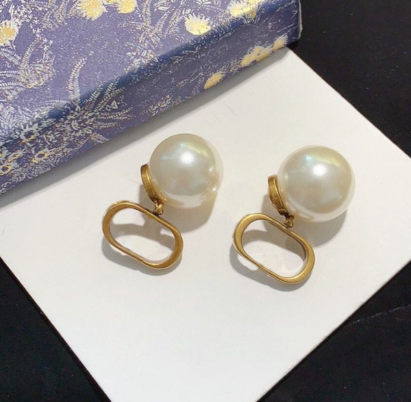 best selling Have stamp fashion hoop pearl earrings aretes orecchini for women party wedding lovers gift jewelry engagement with box HB0823