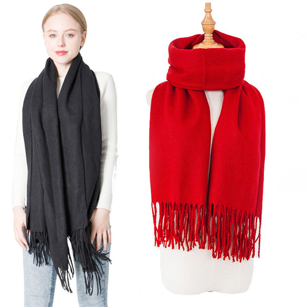 top popular Solid color Tassel scarf imitation Pashmina winter scarves Wrap Scarves Ring shawls for women fashion gift drop ship 2020