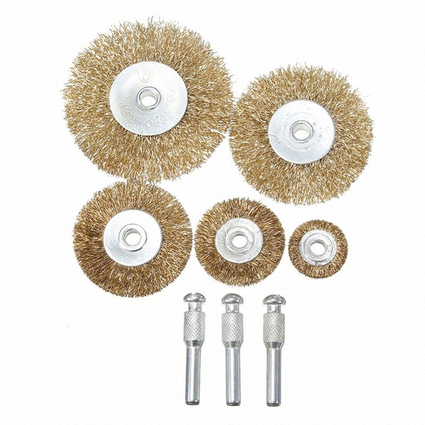 best selling 8pcs Flat Mini Brass Wire Cup Wheel Set Polishing Brush for Grinder Drill Rotary Tool 9iRL#