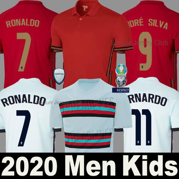 top popular 2020 RONALDO soccer jerseys JOAO FELIX NEVES BERNARDO CANCELO RUBEN NEVES 2021 away white 20 21 national team Men + Kids kit football shirt 2020