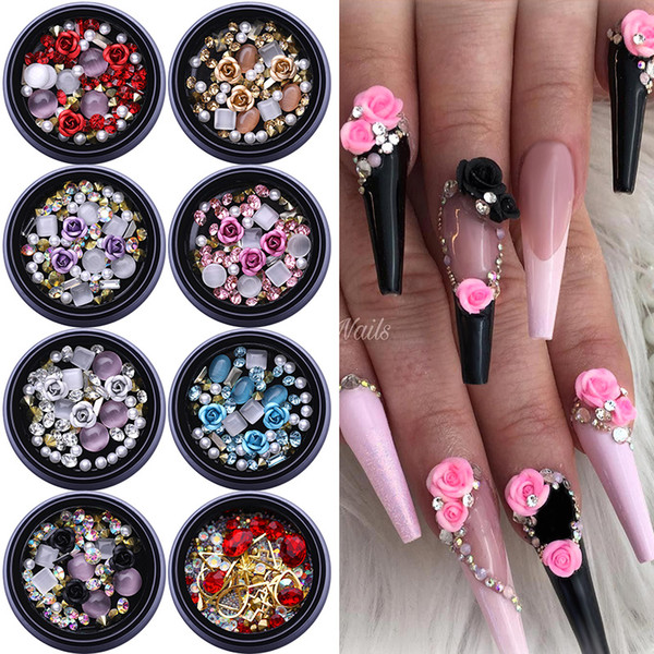 best selling 1Box 3D Nail Rhinestones Stones Mixed Colorful Decals with Nail Curved Tweezer Crystals Nail Art DIY Design Decorations