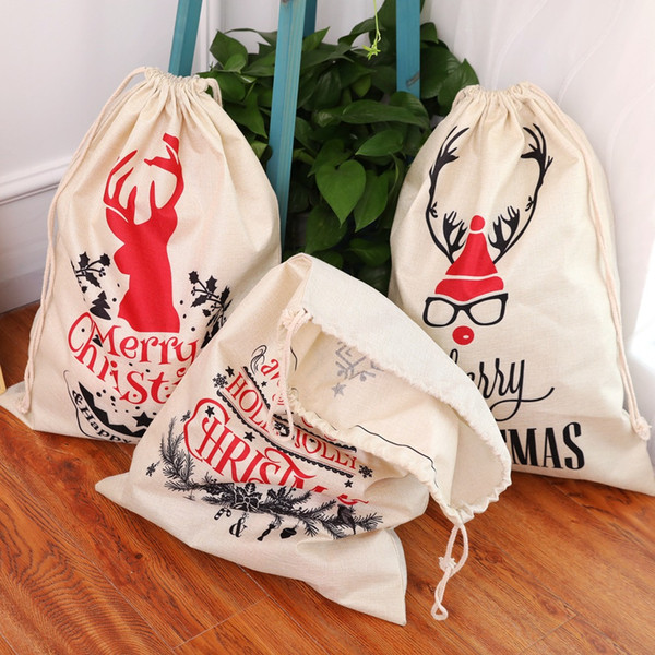 top popular Christmas Santa Sacks Canvas Cotton Bags Large Organic Heavy Drawstring Gift Personalized Festival Party Christmas Decoration 2021