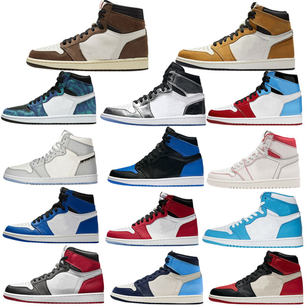 top popular New 1 high OG basketball shoes 1s mid chicago royal toe black metallic gold pine green black UNC Patent men women Sneakers trainers 2021