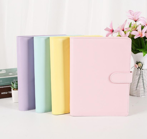 top popular cheapest A6 PU Leather Notebook Binder Macaron color 19*13cm Refillable 6 Ring Binder for A6 Filler Paper can custom DIY 2021