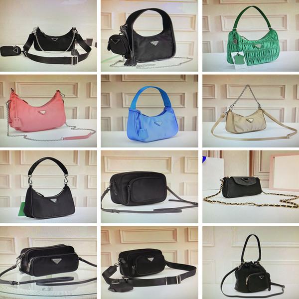 top popular Vintage nylon hobo crossbody bag pleated handbags feel mini shoulder bag for women classic bags fashion chest purse chain tote key wallet 2020