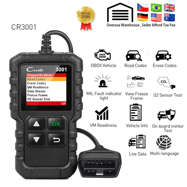 top popular CR3001 obd2 code reader scanner X431 CR3001 full obdii function diagnostic turn off engine light cr319 elm327 ad310 car Scan tool 2021