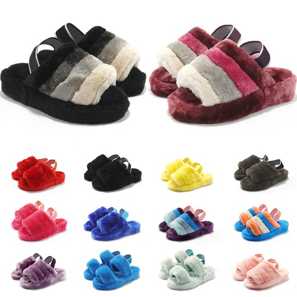 best selling 2020 Latest Autumn And Winter Leisure Plush Slippers Printed Flat Comfortable Home Slippers For Ladies Classic Interlock Fur Slides