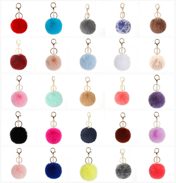 best selling 37 Colors 8cm Imitate Rabbit Fur Ball Keychain Pom Pom Car Keychain Handbag Keychain Fluffy Faux Rabbit Fur Key Ring