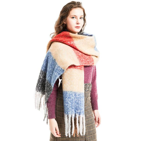 top popular Autumn Winter Braid Tassel Wrap Scarves shawls contrast color scarves neckerchief for women Fashion accessories gift drop ship 2020