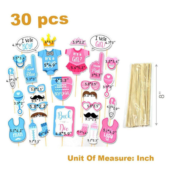 top popular 30pcs Photo Props Photo Frame Prop Feeder Balloon Boy Girl Gender Reveal Baby Shower Party Cake Topper Decoration Supplies 2020