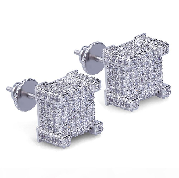 box cz micro pave gold silver bling bling earrings hip hop iced out big square flat screen block screw back stud earring for men and women, Golden;silver