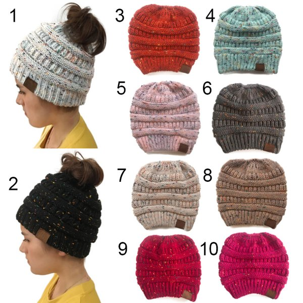 best selling Women Ponytail Star Caps Knitted Beanie Fashion Girls Winter Warm Hat Back Hole Pony Tail Autumn Casual Beanies Big Kids Hat