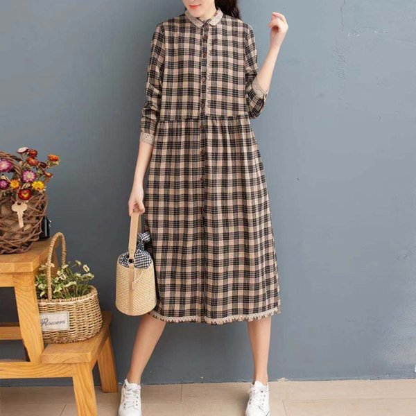 Dal collare Khaki Plaid Doll