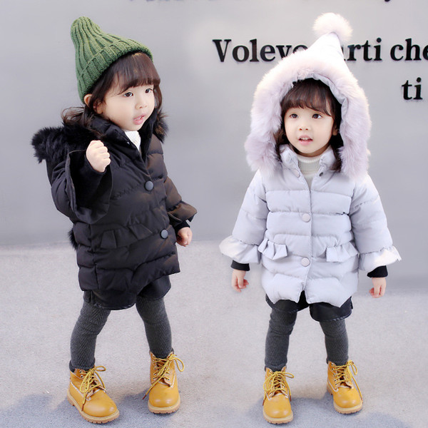 Baby winter coat girl pointed hat Christmas hat children down jacket thick warm cotton jacket coat girl hooded fur collar coat