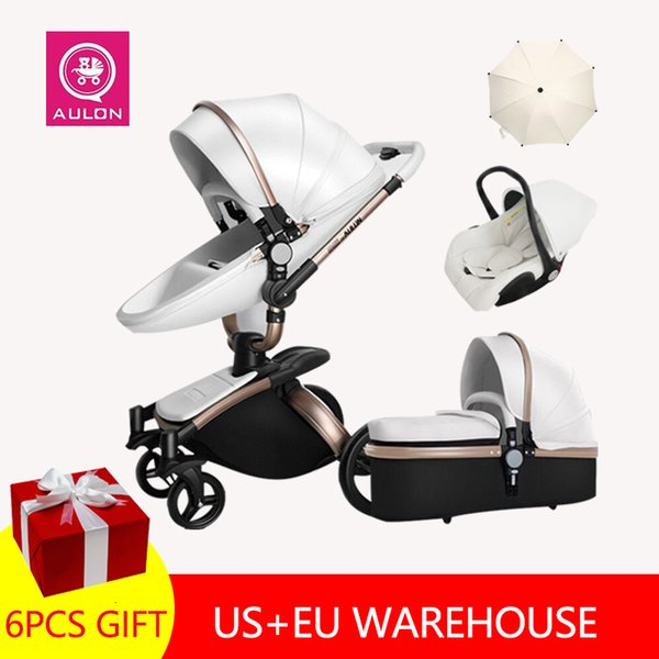 best selling Fast Shipping Free Shipping Aulon Luxury Baby Stroller 3 In 1 High Land-scape Fashion Carriage European Design Pram On 2020