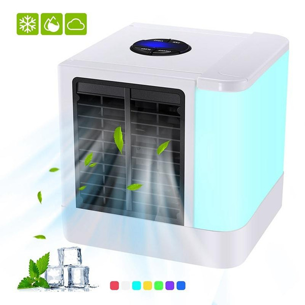 best selling Freeshipping Mini USB Portable Air Conditioner Fan Humidifier Purifier 7 Colors Light Desktop Air Cooling Fan Air Cooler Fan Ultra-Quiet