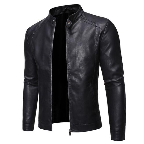 Черный PU куртка