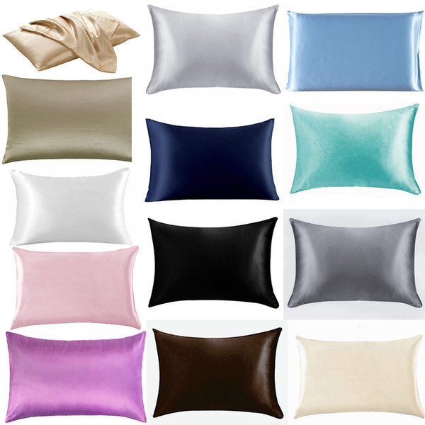 best selling 20*26 Inch Silk Satin Pillowcase Home Ice Silk Pillow Case Zipper Pillow Cover Bedding Cushion Cover M2634