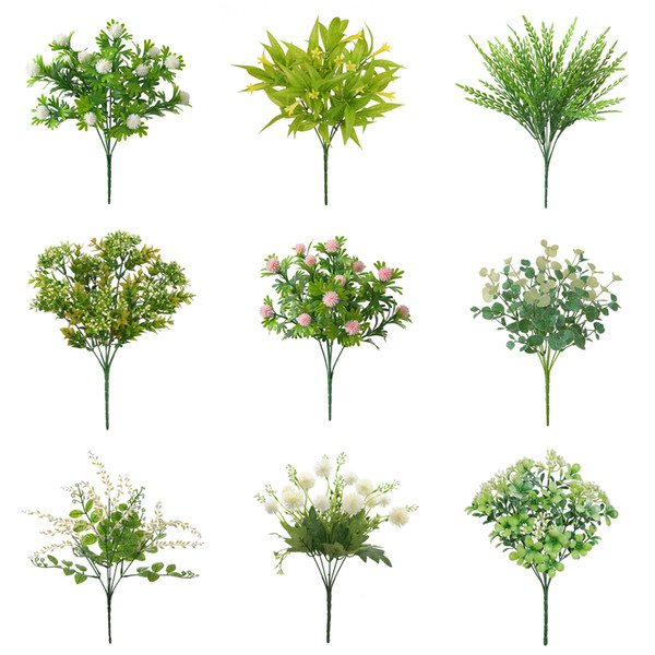 1pc Artificial Plants Fern Grass Wedding Wall Decor Green Leaf Artificial Flowers Plastic Fake Plant for Home Garden Decoration