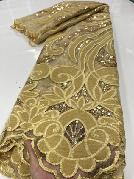 top popular Gold Nigerian Velvet Lace Fabrics 2020 High Quality Lace African French Sequins Fabric For Wedding Dress Sewing YA2668B-5 2021