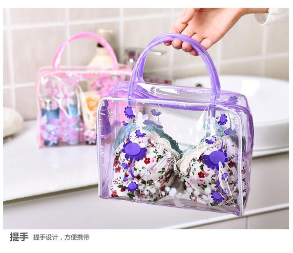 best selling pvc finishing floral transparent washing bag, bathing cosmetic bag, outdoor travel storage washing bag, waterproof washing bag