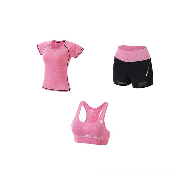 Pink Three-piece Set (shorts Bra T-shirt
