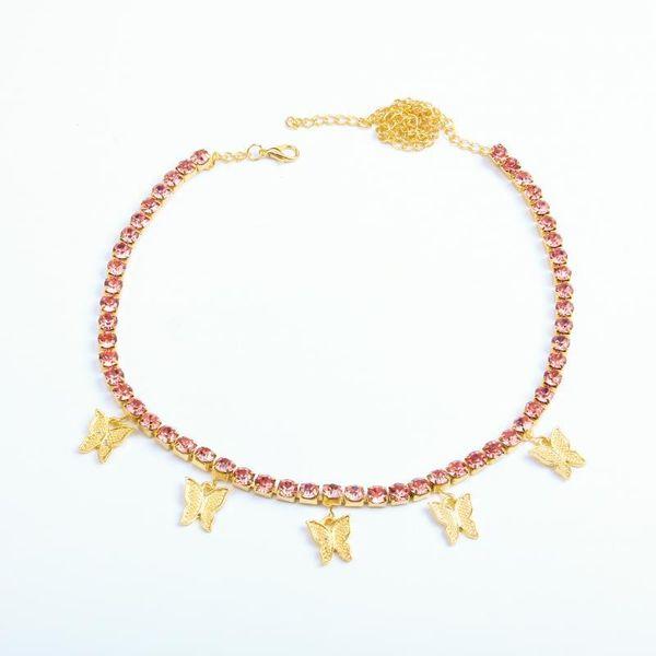 4Pink Rhinestone Gold Butterfly