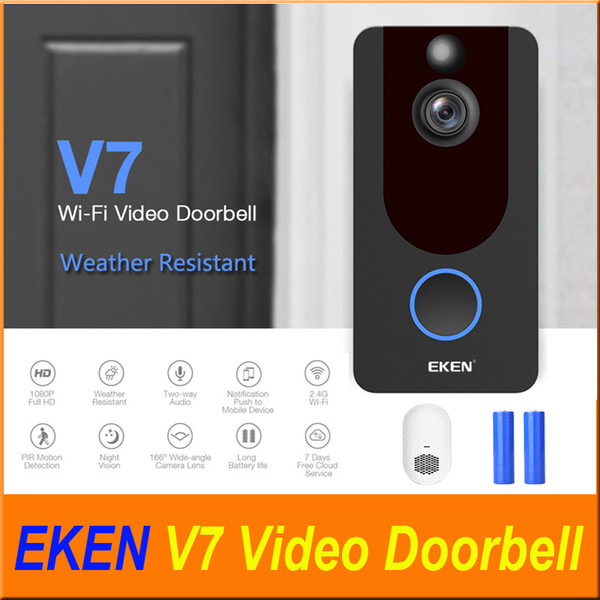 top popular EKEN V7 1080P Smart Home Video Doorbell Camera Wireless Wifi Real-Time Video with chime Cloud storage Night Vision PIR Motion Detection 2021