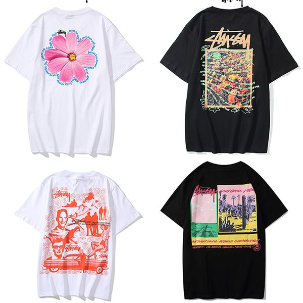 top popular HOT Mens stussy T Shirts Black White Red Mens Fashion Stylist T Shirts Top womens T Shirts Stylist Short Sleeve M-XXL 2020