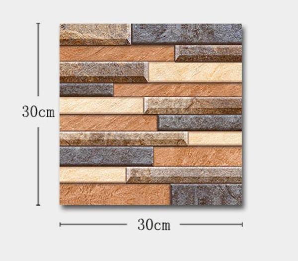 top popular 30*30cm 3D Stone Wallpaper Modern Wallcovering PVC Roll Brick Wall Background For Living Room bathroom Waterproof 2021
