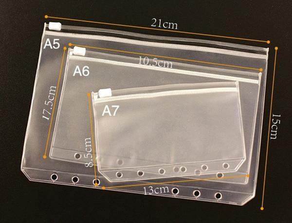 top popular A6 waterproof transparent document bag zipper pull side Inside the notebook 6 hole loose-leaf bag receipt storage bag A10 2020