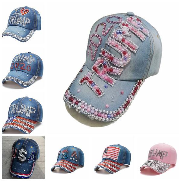 top popular Donald Trump Denim Baseball Cap outdoor I love Trump 2020 Rhinestone hat sports cap striped USA Flag Cap Snapback LJJA5004 2020