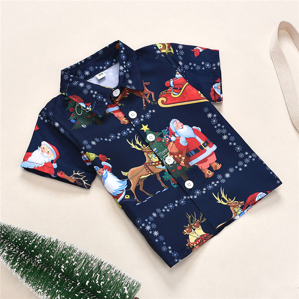 best selling Baby Clothes Christmas Children's T-Shirt Tops New Year Santa Claus Elk Snowflake Christmas Tree Dark Blue Printed Clothes Fashion Clothing