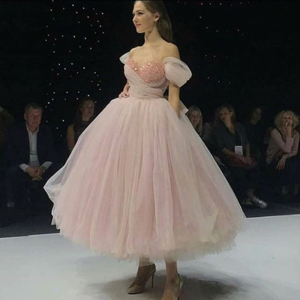 new pink tulle off the shoulder prom dress elegant ankle length ball gown formal dress pearls puffy bow princess evening party gowns, Black