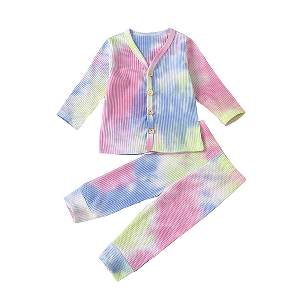 top popular Spring Autumn Baby Tie Dye Clothing Sets Girls Long Sleeve Button Top + Pants 2Pcs Set Infants Home Sets Children Outfits M2600 2021