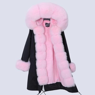 chaqueta negro / pieles de color rosa