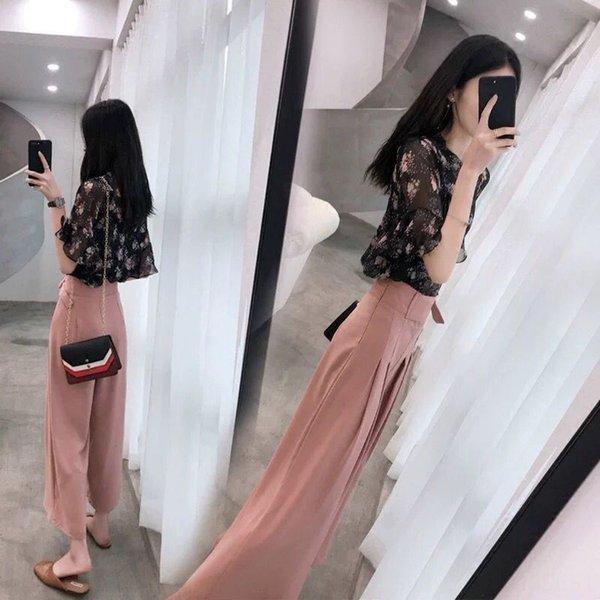 Черный + розовый Wide-ноги штаны