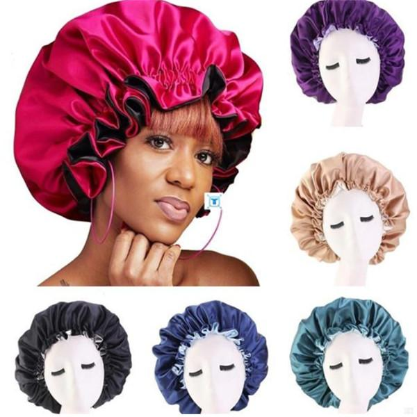 best selling New Silk Night Cap Hat Double side wear Women Head Cover Sleep Cap Satin Bonnet for Beautiful Hair - Wake Up Perfect Daily Factory Sale .