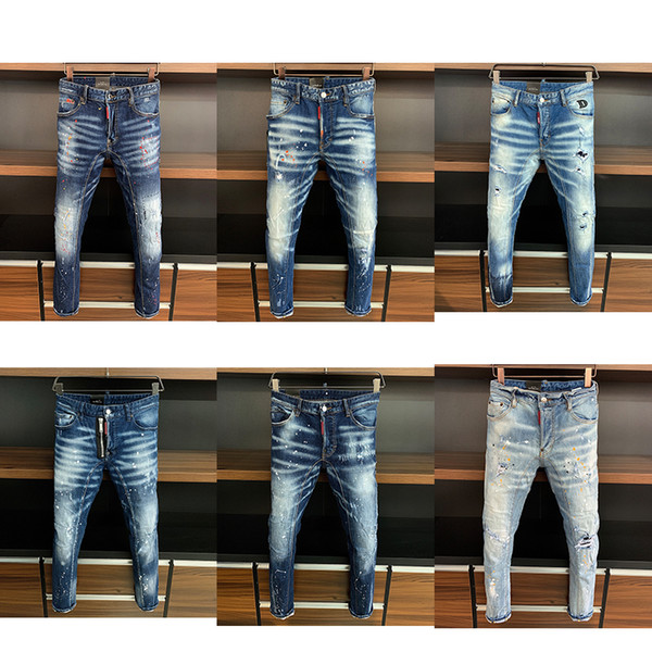 best selling 5a Top quality Designer Mens jeans Motorcycle Skinny biker Slim Ripped hole stripes Luxurys Fashion Denim pants D2 jean trousers apparel