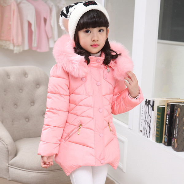 Baby girl clothes thick warm winter coat diamond cotton coat long section children's hooded girl coat 3-12 years old
